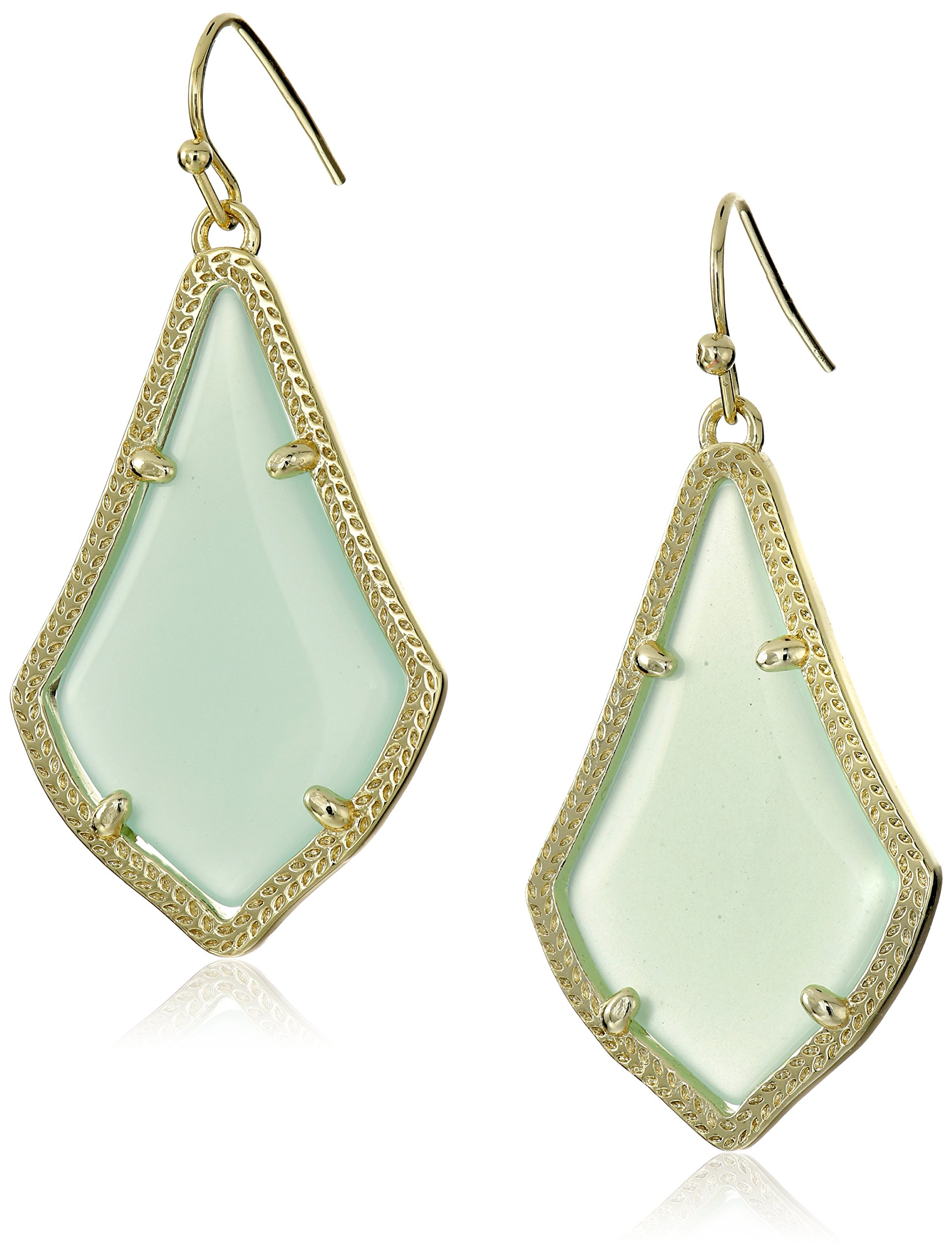 Kendra Scott Signature Alex Drop Earrings in Gold Plated and Chalcedony Glass