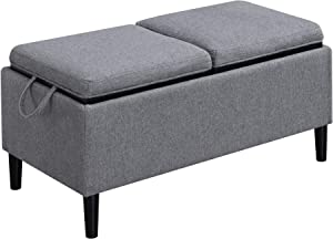 Convenience Concepts Designs4Comfort Magnolia Storage Ottoman with Trays, Soft Gray Fabric