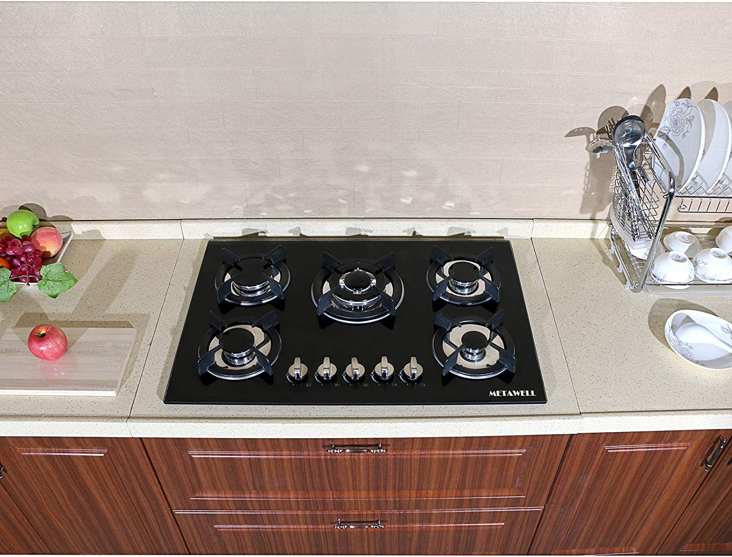 Ship from US ! METAWELL 30.3 Kitchen Tempered Glass 5 Burners Built-in NG//LPG Gas Cooktops