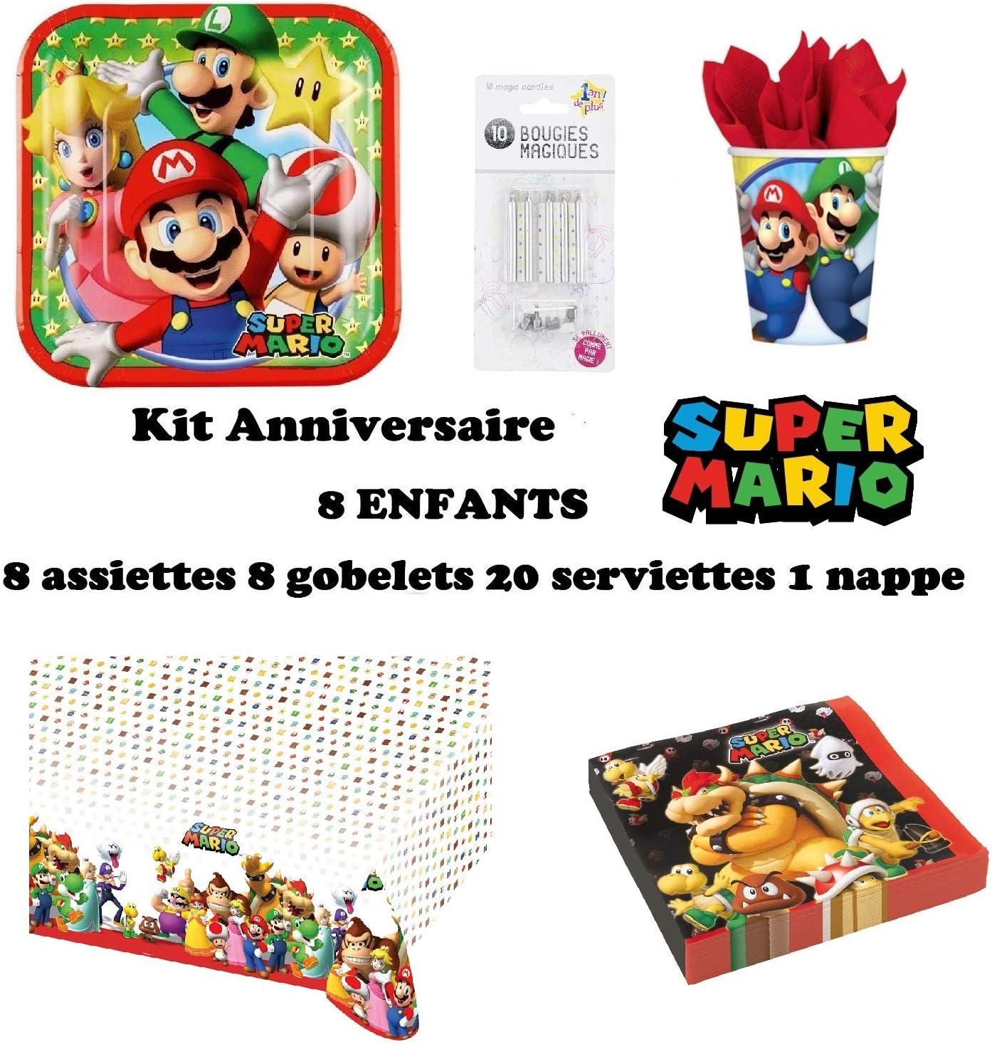 Set de Cumpleaños Completa Super Mario 8 niños (8 Platos, 8 Tazas, 20 servilletas,1 Mantel + 10 Velas mágicas ofrecidas) Fiesta Mesa de decoración: Amazon.es: Juguetes y juegos