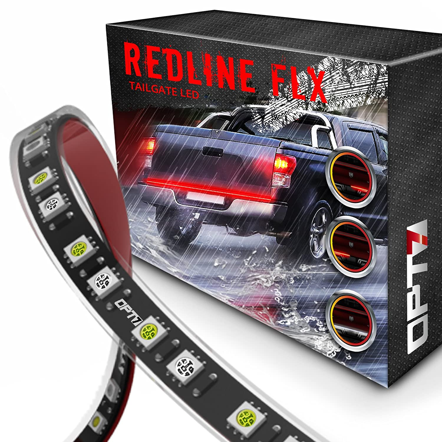OPT7 48' Redline Flexible LED Tailgate Light Bar - TriCore LED - Weatherproof No-Drill Install ?Full Featured Reverse Brake Running w/RED Turn Signal 2yr Warranty