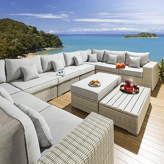 Gran lujo Forma de U para exteriores (ratán sofá grupo 9 ...