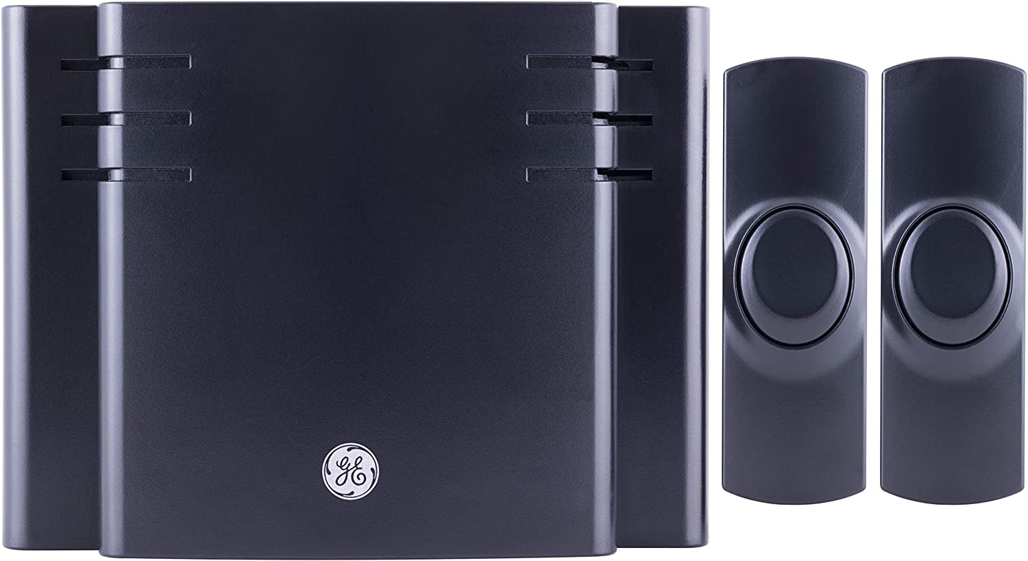 GE, Black, Wireless Doorbell Kit, Battery-Operated, 8 Melodies, 1 Receiver, 2 Push Buttons, 4 Volume Levels, 150 Ft. Range, 45202