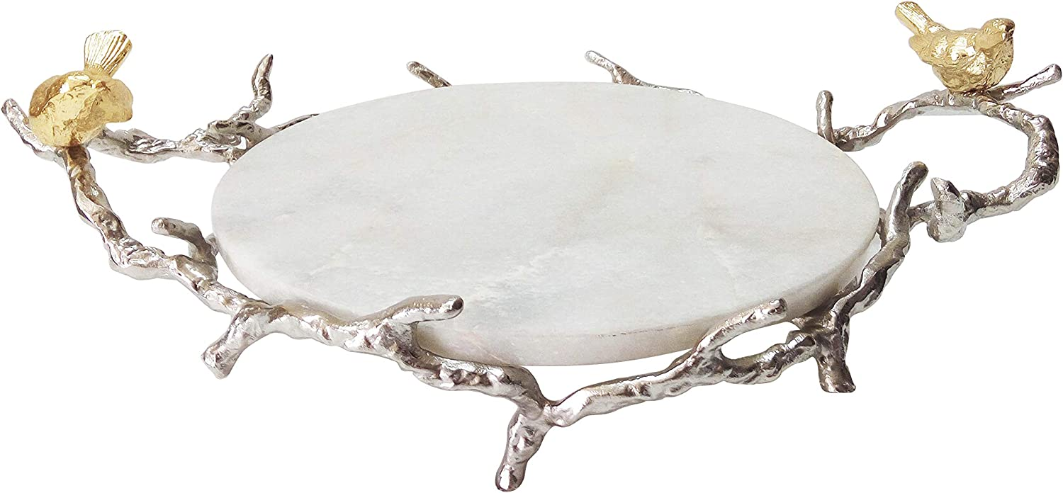 A&B Home Marble Round Branch Design Handles and Stand Tray Shiny Nickel