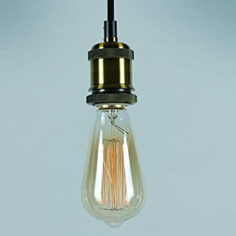 Vintage Pendant Light Kit - Antique Industrial Brass Finish - Lamp Holder,  Fabric Cord u0026