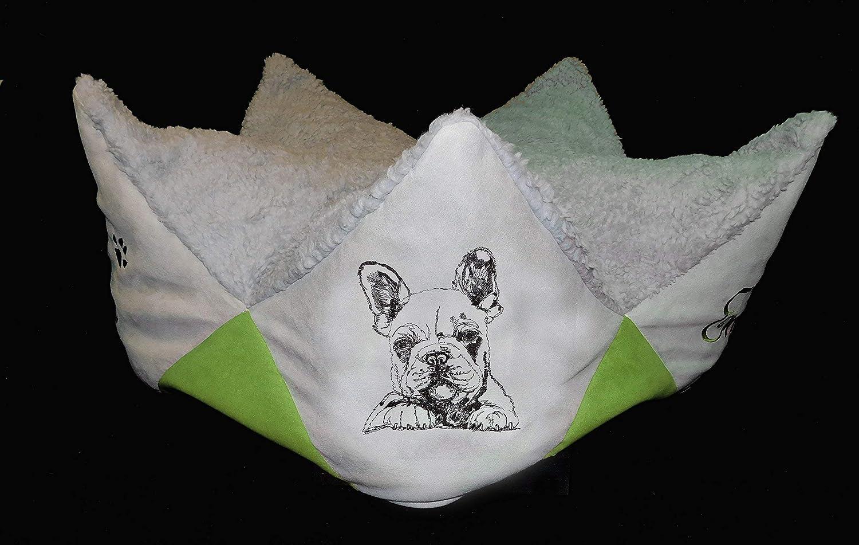 LunaChild Kronenkissen Sternkissen Kronenbett Prinzessin Prinz Hundekissen Kissen Französische Bulldogge 1 Hunde Sofa Hundebett mit Name mit Hunderasse bestickt Snuggle Bag Größe S , M, L, XL, XXL in 15 Farben erhältlich