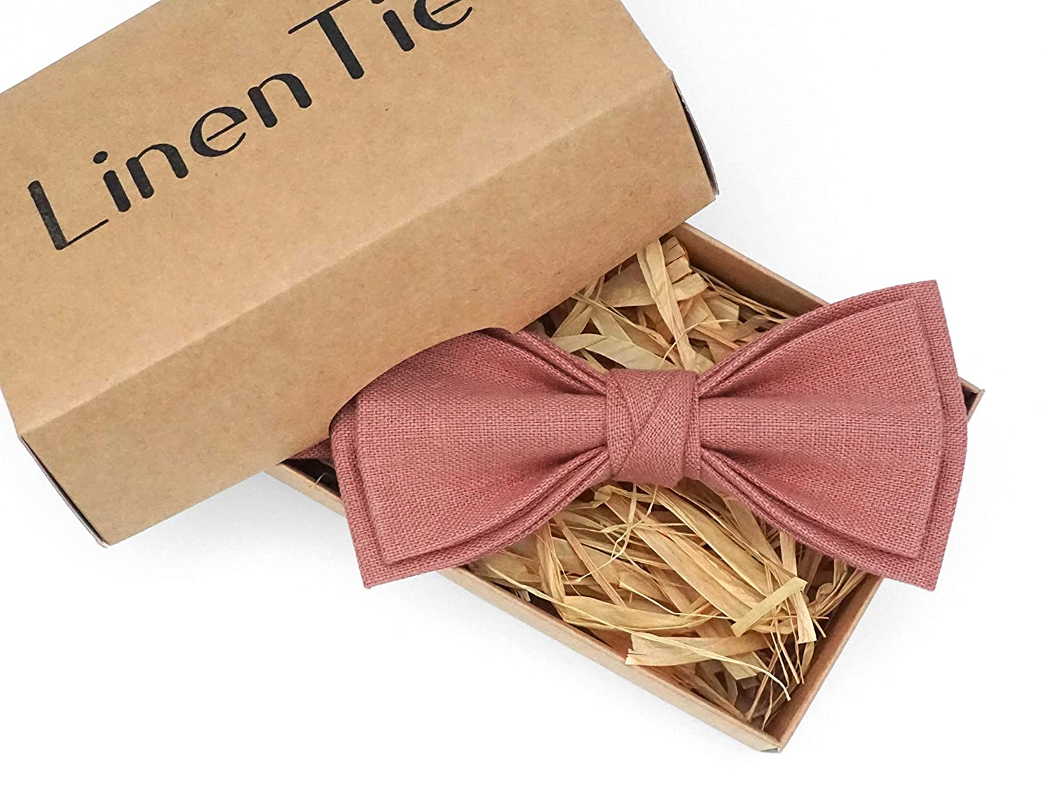 Amazon Com Pink Rose Color Pretied Linen Bow Ties For Men And