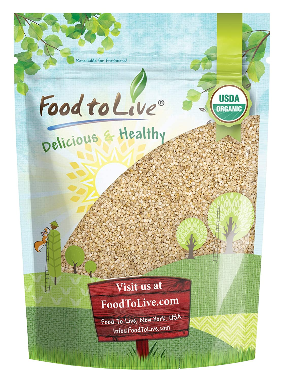 Organic Unhulled Sesame Seeds, 4 Pounds — Natural, Whole, White, Non-GMO, Raw, Kosher, Bulk, Rich in Calcium, Iron, and Fiber, Great for Baking