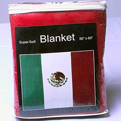 Mexican Flag Fleece Blanket 5 ft x 4.2 ft. Bandera de México Cobija Manta Throw