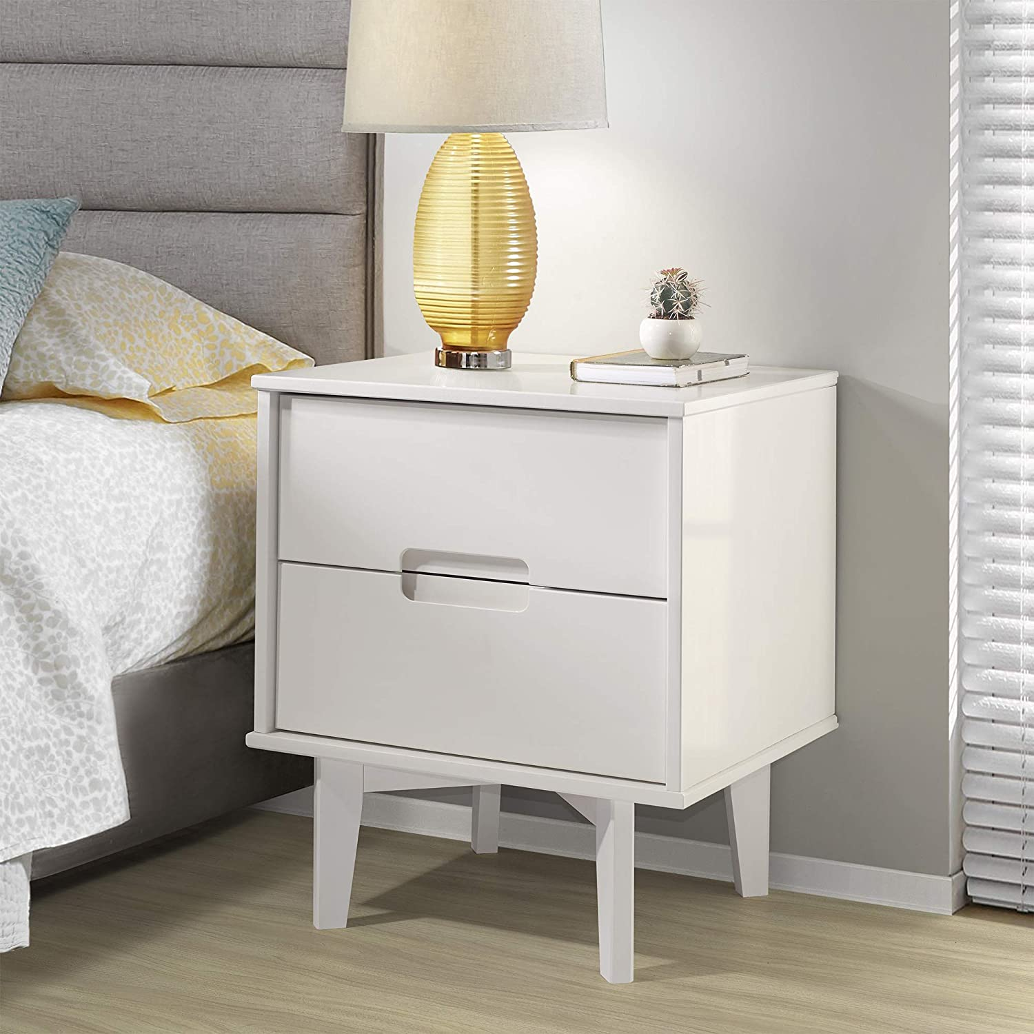 """WE Furniture Solid Wood 2-Drawer Groove Handle End Side Table Nightstand with Storage, 24"""" H, White"""
