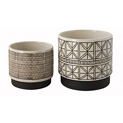 Creative Co-Op White Stoneware Planters with Black Designs (Set of 2 Designs): Home & Kitchen