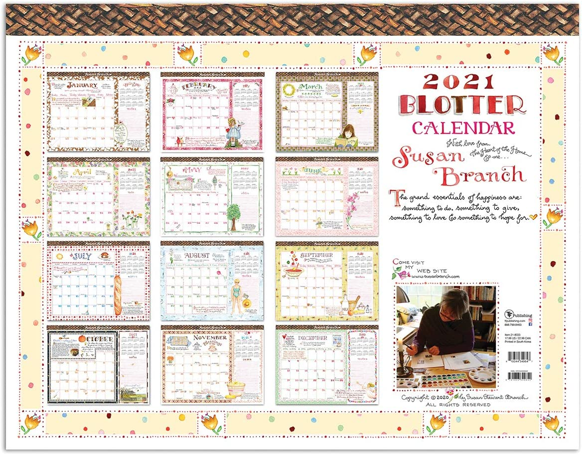 """TF PUBLISHING 2021 Artist Susan Branch Pad Monthly Blotter Calendar - Heart of The Home - Appointment, Notes, Holiday Tracker - Home or Office Planning and Organization - Thick Uncoated Paper 22""""x17"""""""