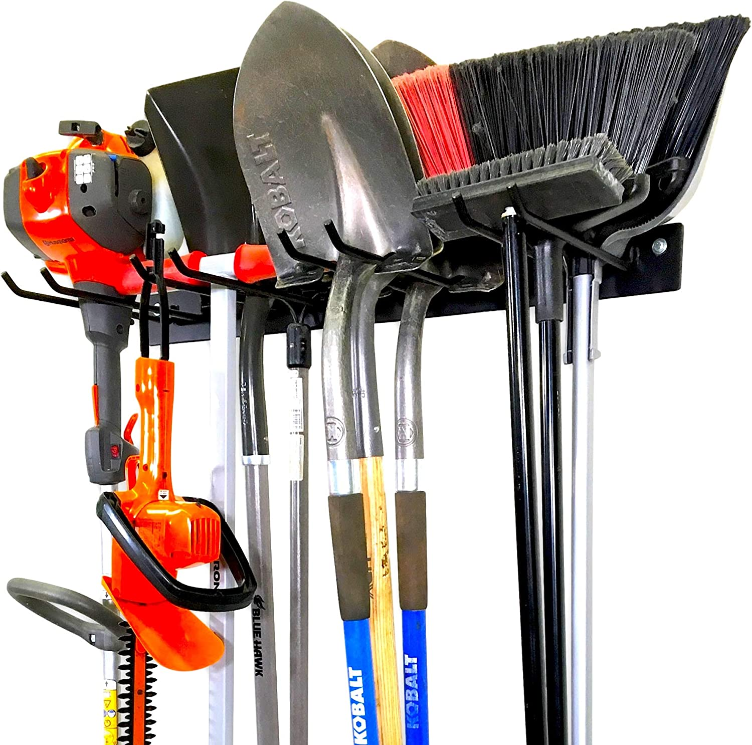 StoreYourBoard BLAT Tool Storage Rack, Garage Wall Mount Organizer, Heavy-Duty Solid Steel Max 200 lbs, Holds Garden Tools, Shovels, Rakes, Brooms, Cords, Hoses, Ropes, and More