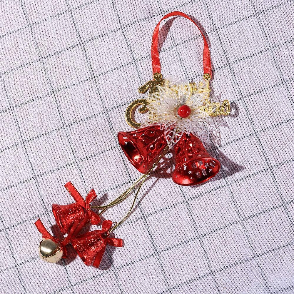 Pgojuni_Ornament Christmas Bell Hanging Wooden Santa Claus Xmas Tree Pendant Decor Holiday Decoration 1PC (H)