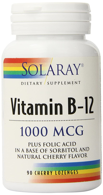 Solaray B 12 Lozenge Supplement, 1000mcg, 90 Cherry Lozenges by Solaray: Amazon.es: Salud y cuidado personal