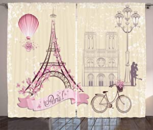 """Ambesonne Kiss Curtains, Floral Pariss Landmarks Eiffel Tower Hot Air Balloon Bicycle Romantic Couple, Living Room Bedroom Window Drapes 2 Panel Set, 108"""" X 96"""", Ivory Pink"""