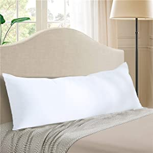 """EVOLIVE Ultra Soft to Medium Density Microfiber Body Pillow, Long Side Sleeping Pillow for Adult and Pregnancy(Off White, Body Pillow 21""""x54"""")"""