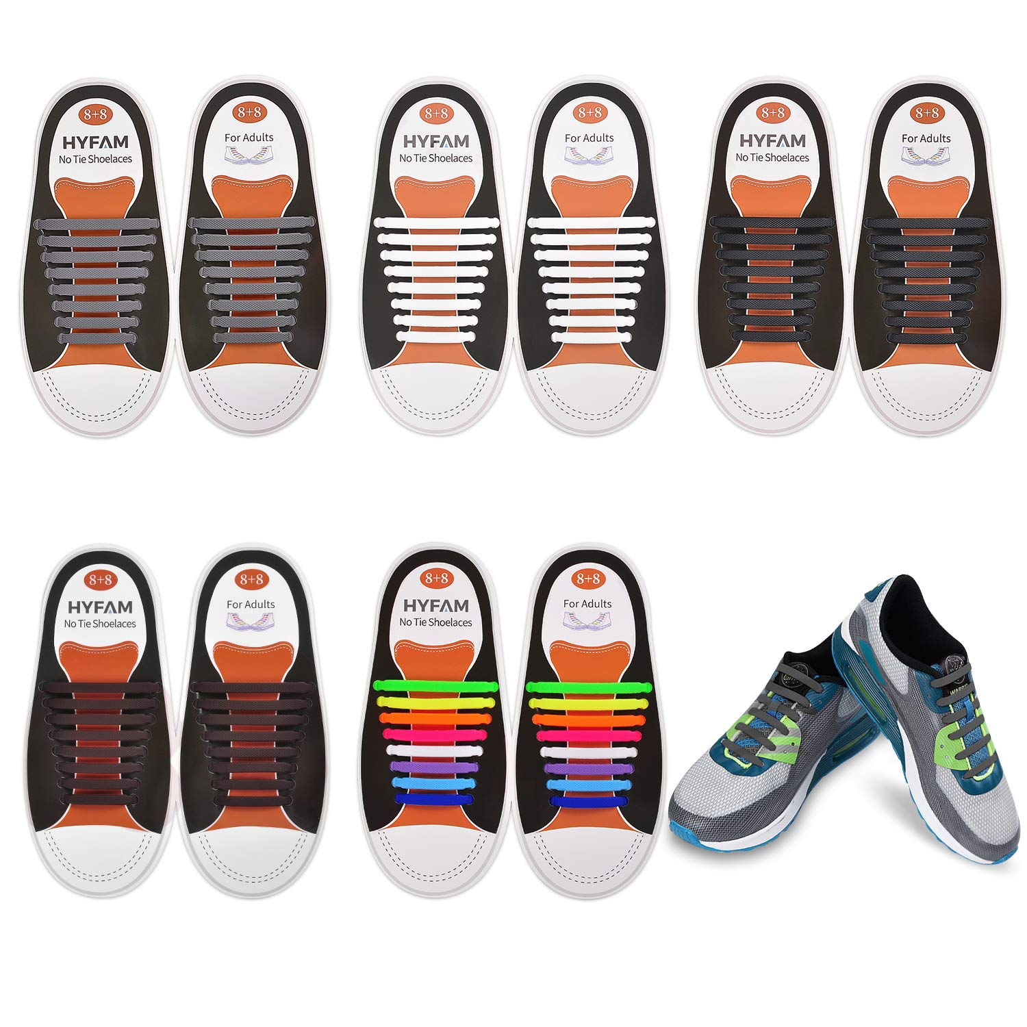 7a0a95a86b0f7 HYFAM No Tie Shoelaces for Kids/Adults, Waterproof Elastic Silicone Tieless  Shoe Laces for Sneakers Board Shoes Casual Shoes