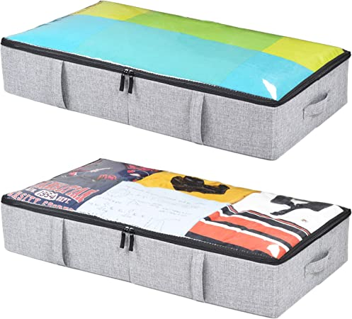 Underbed Storage Containers for Clothes, Blankets and Shoes. Woven Fabric with Plastic Panel Structure, 2-Pack - 33'' x 17'' x 5.7'' (Grey)