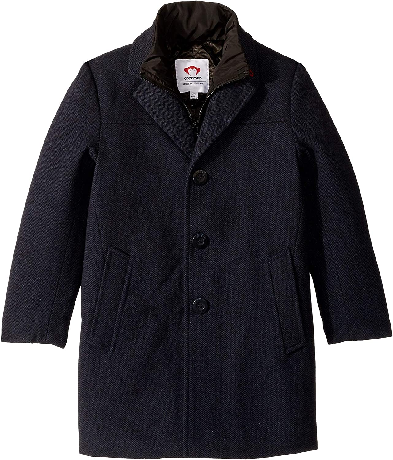 Appaman Kids Mens Double Lined Zip and Button Up City Overcoat (Toddler/Little Kids/Big Kids)