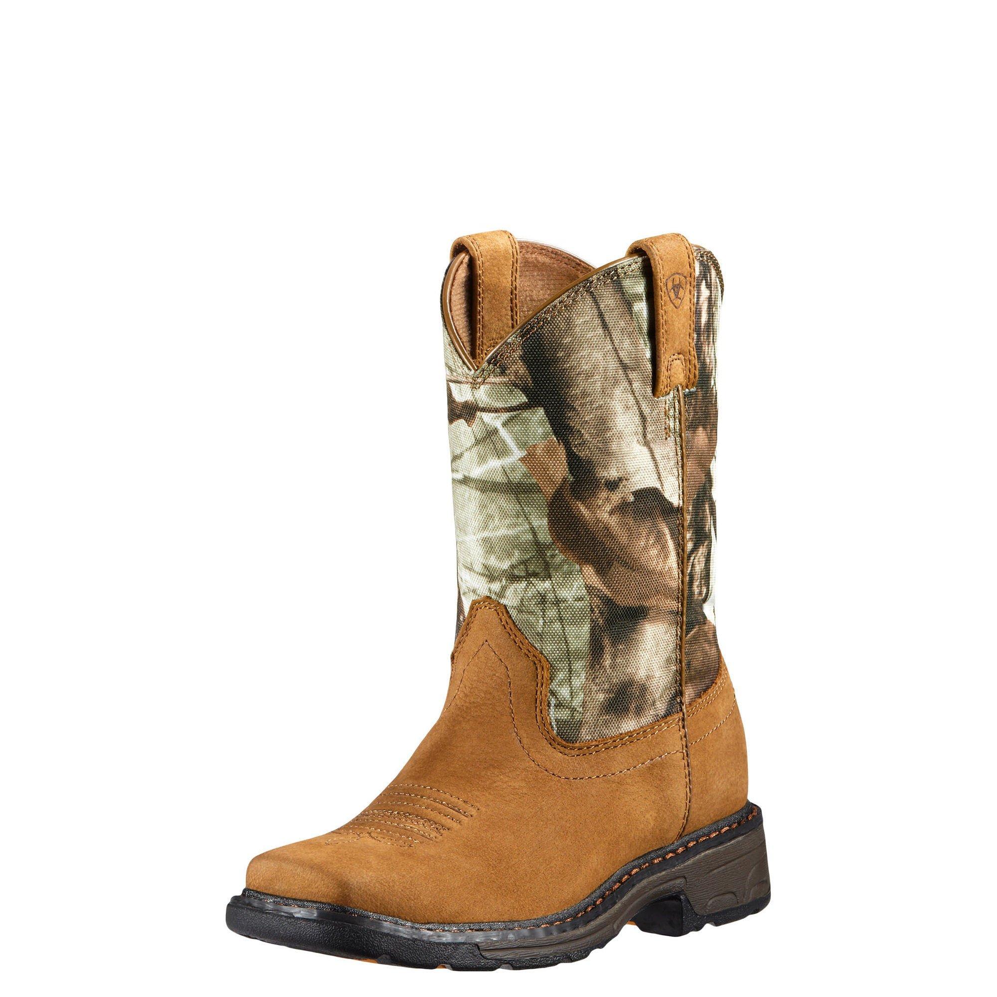 Kids' Workhog Wide Square Toe Western Cowboy Boot, Aged Bark/Camo, 11.5 M US Toddler by Ariat