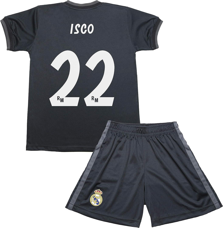 Real Madrid Kit Segunda Equipación Infantil ISCO Producto Oficial Licenciado Temporada 2018-2019 (Gris Grafito, Talla 6): Amazon.es: Deportes y aire libre
