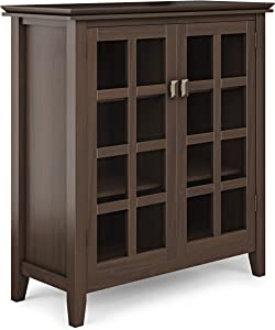 SIMPLIHOME Artisan SOLID WOOD 38 inch Wide Contemporary Medium Storage Cabinet in Tobacco Brown, with 2 tempered glass doors , 4 adjustable shelves