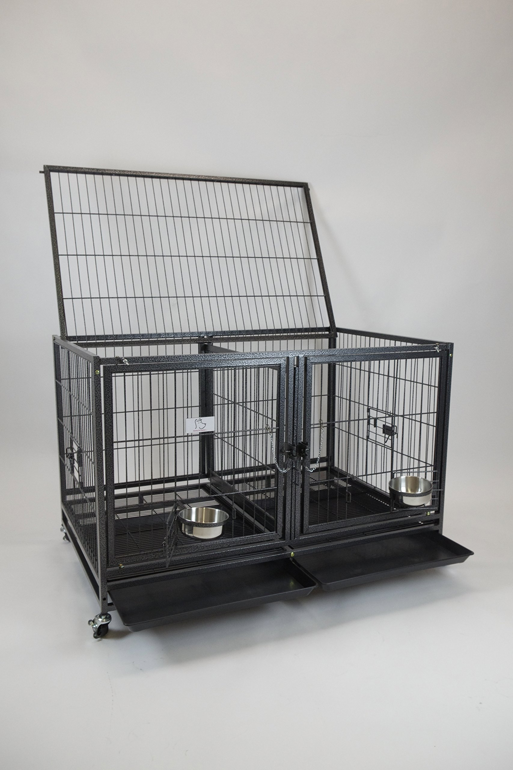 Homey Pet-43 All Metal Open Top Stackable Heavy Duty Cage(Upper) w/Floor Grid, Tray, Divider, and Feeding Bowl by Homey Pet (Image #4)