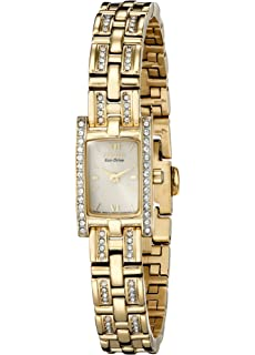 Citizen Womens Eco-Drive Yellow Plated Crystal Rectangular Watch