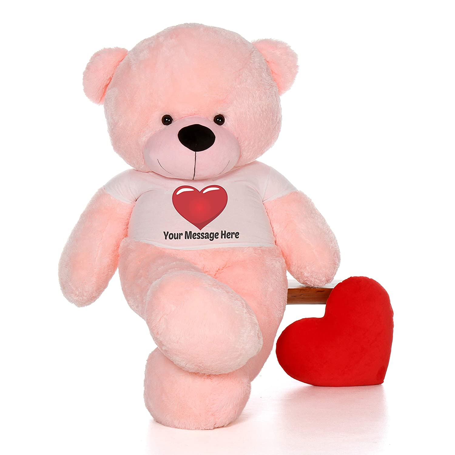 c9c312b47ce8 Amazon.com: Giant Teddy Personalized Life Size 6 Foot Bear Cuddles with Red  Heart T-Shirt (Cotton Candy Pink): Toys & Games