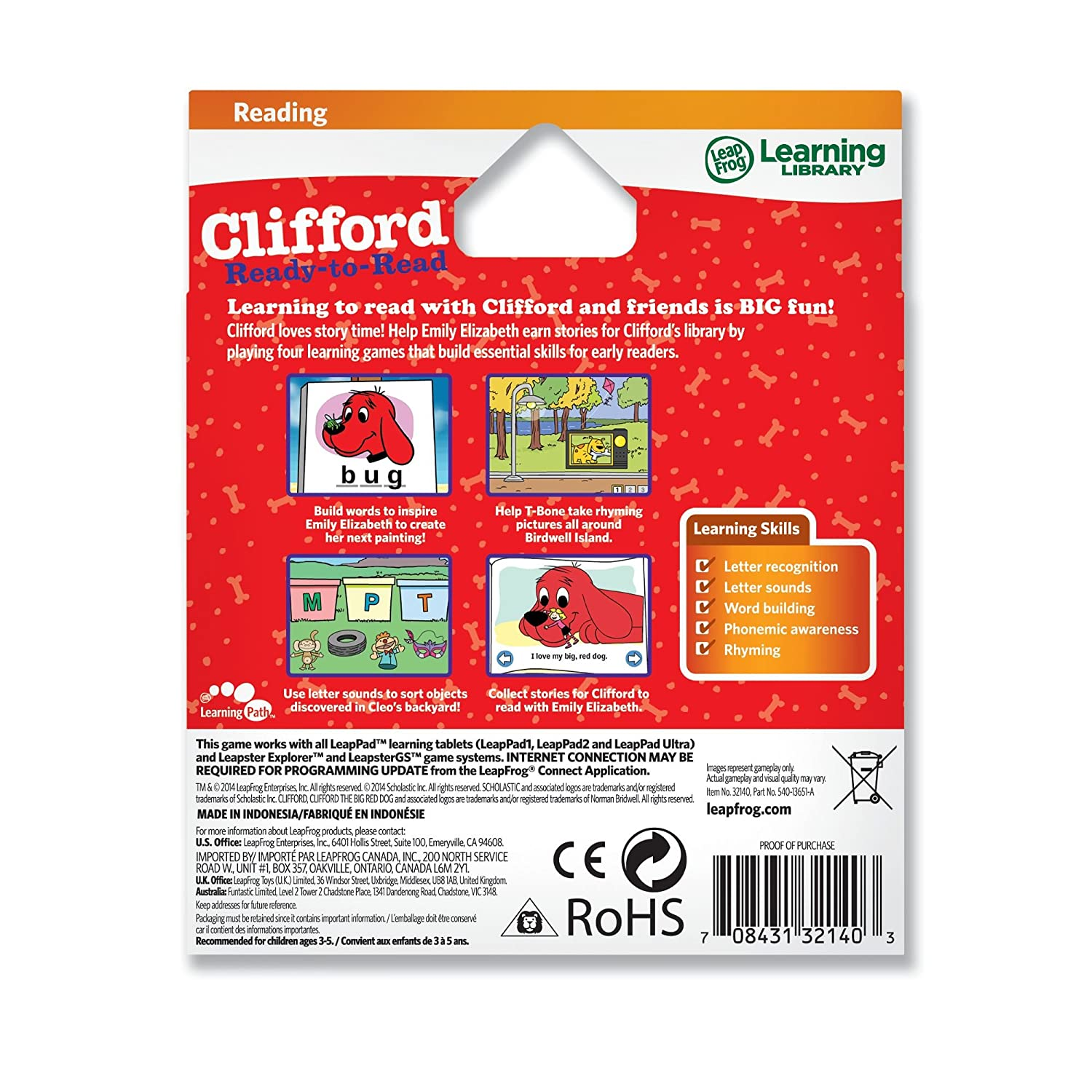 amazon com leapfrog scholastic clifford learning game for