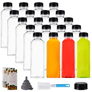 Cedilis 20 Pack 16oz Plastic Juice Bottles with Black Cap, Clear Reusable Containers with Lids, Great Disposable Bottles for Making Juice, Milk, Salad Dressing, Smoothie and Other Beverages