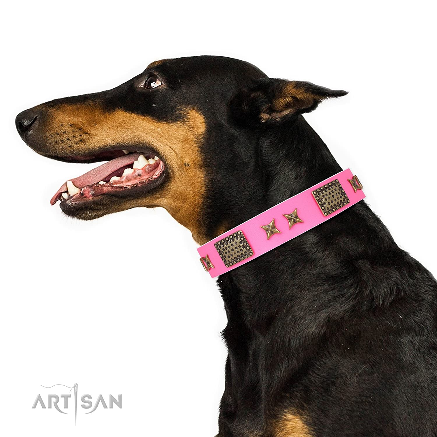 Fits for 22 inch (55cm) dog's neck size FDT Artisan 22 inch Pink Leather Dog Collar  Old Bronze Style  1 1 2 inch (40 mm) wide