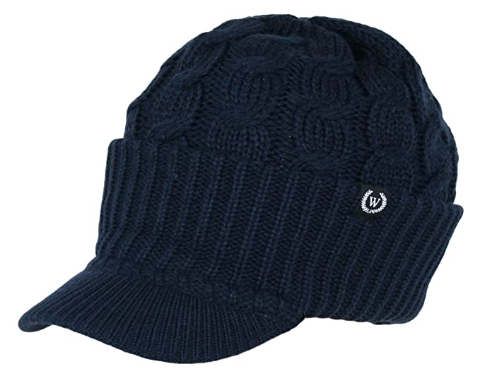 199da7258c2ad Amazon.com  Winter Newsboy Cable Knitted Visor Beanie Bill Winter ...