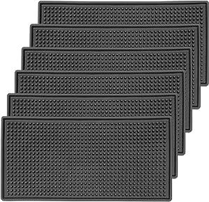ZEONHEI 6 Pack 6 x 12 Inch Bar Service Mat, Black Anti-Slip PVC Spill Mats, Coffee Bar Countertop Spill Mats Heat Resistant Furniture Grade Drink Service Mat for Kitchen, Bar and Hotel