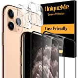[4 Pack] UniqueMe 2 Pack Screen Protector Compatible For iPhone 11 Pro (5.8 inch) and 2 Pack Camera Lens Protector Tempered G