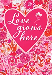 "Briarwood Lane Love Grows Here Valentine's Day Garden Flag Floral Hearts 12.5"" x 18"""