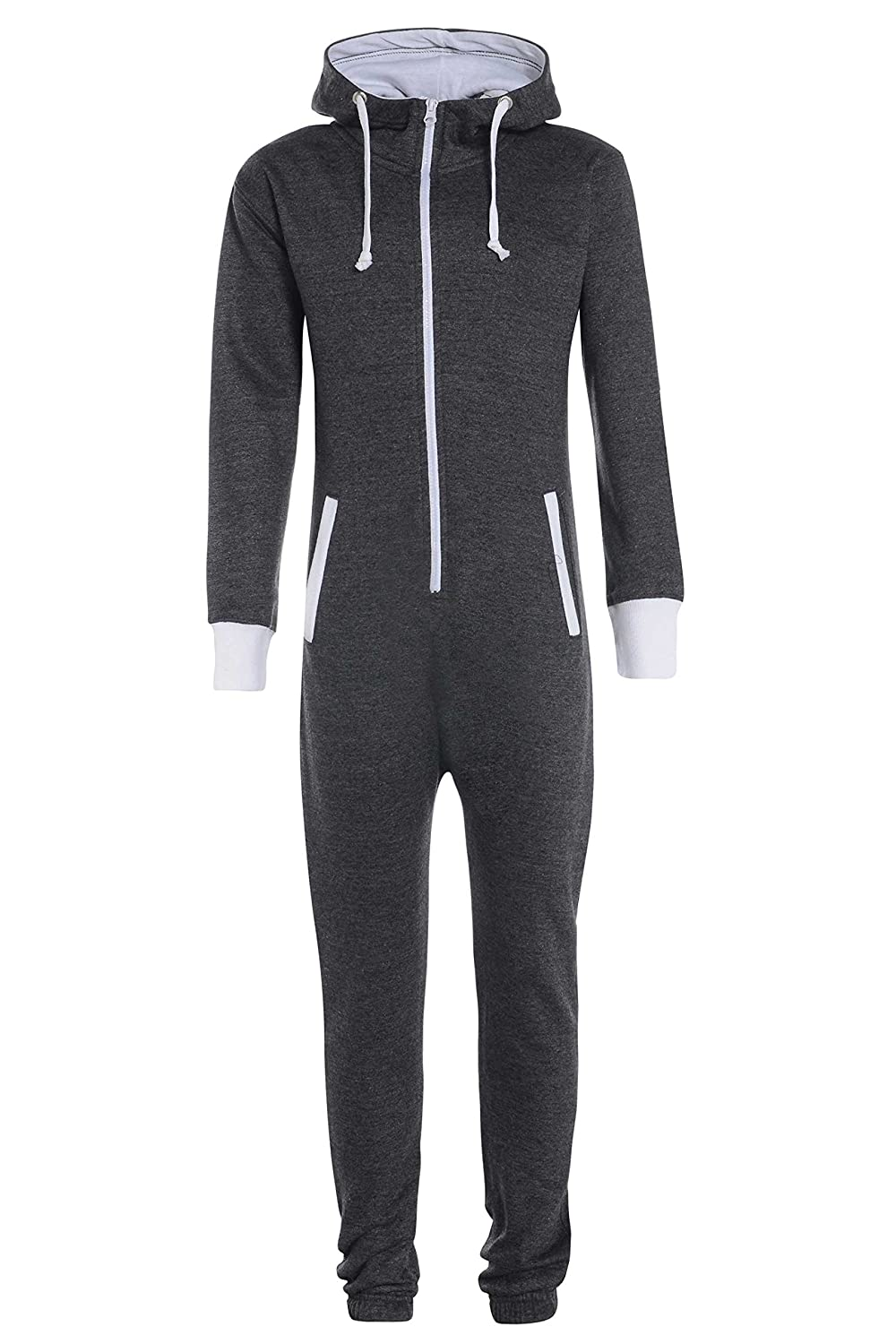 Childrens Unisex Boys Girls Kids Plain Onesie Hooded All In One Jumpsuit Ages 7/8, 9/10, 11/12 & 13 Available in Black, Royal Blue & Silver Grey (13-14, Charcoal Grey)
