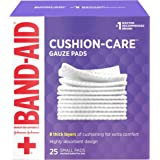 Band-Aid Brand Cushion Care Non-Stick Gauze Pads, Individually-Wrapped, Small, 2 in x 2 in, 25 ct, pack of 3