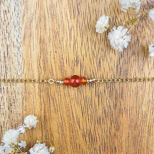 July birthstone Dainty carnelian gemstone choker necklace in 14k gold fill 12 with 2 adjustable extender