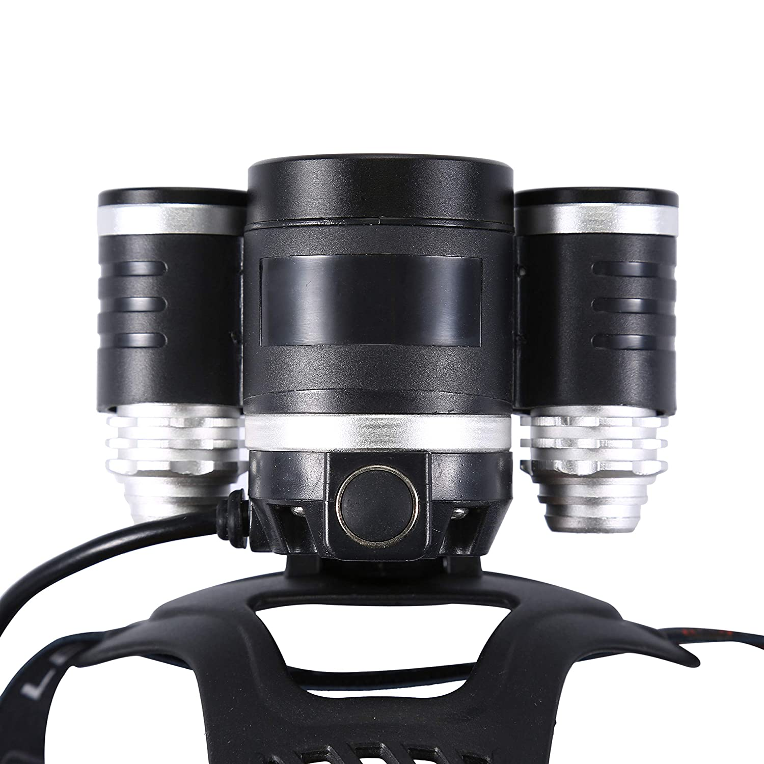 Boruit Head Torch LED Waterproof Head Light 6000lm 4 Modes 3*XM-L2 T6 Headlamps Rechargeable Headlight Super Bright Adjustable Head Lights for Running Fishing Hiking Camping