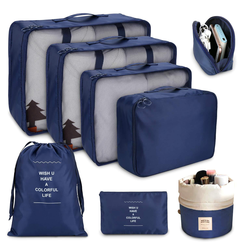 Organiseurs de Bagage Bleu Les Sacs dans Valise pour Les v/êtements,Chaussures et cosm/étiques DIMJ organisateurs de Voyage Cube Voyage Ensemble de 8