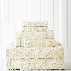 Amrapur Overseas 6-Piece Medallion Jacquard/Solid Ultra Soft 500GSM 100% Combed Cotton Towel Set [Ivory]