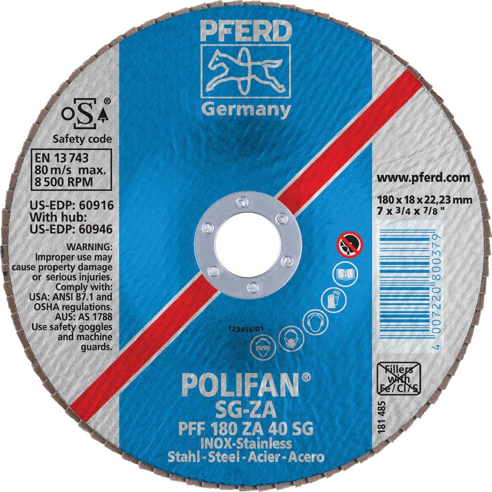 Zirconia Alumina//Aluminum Oxide 8600 RPM 7 Diameter 7//8 Arbor Hole 40 Grit 7 Diameter 7//8 Arbor Hole PFERD Inc. PFERD 60916 Polifan PFF Type 27 Flat Flap Disc
