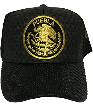 Puebla Logo Federal hat Gorra De Palma Visera De Piel Mesh Snapback at Amazon Mens Clothing store: