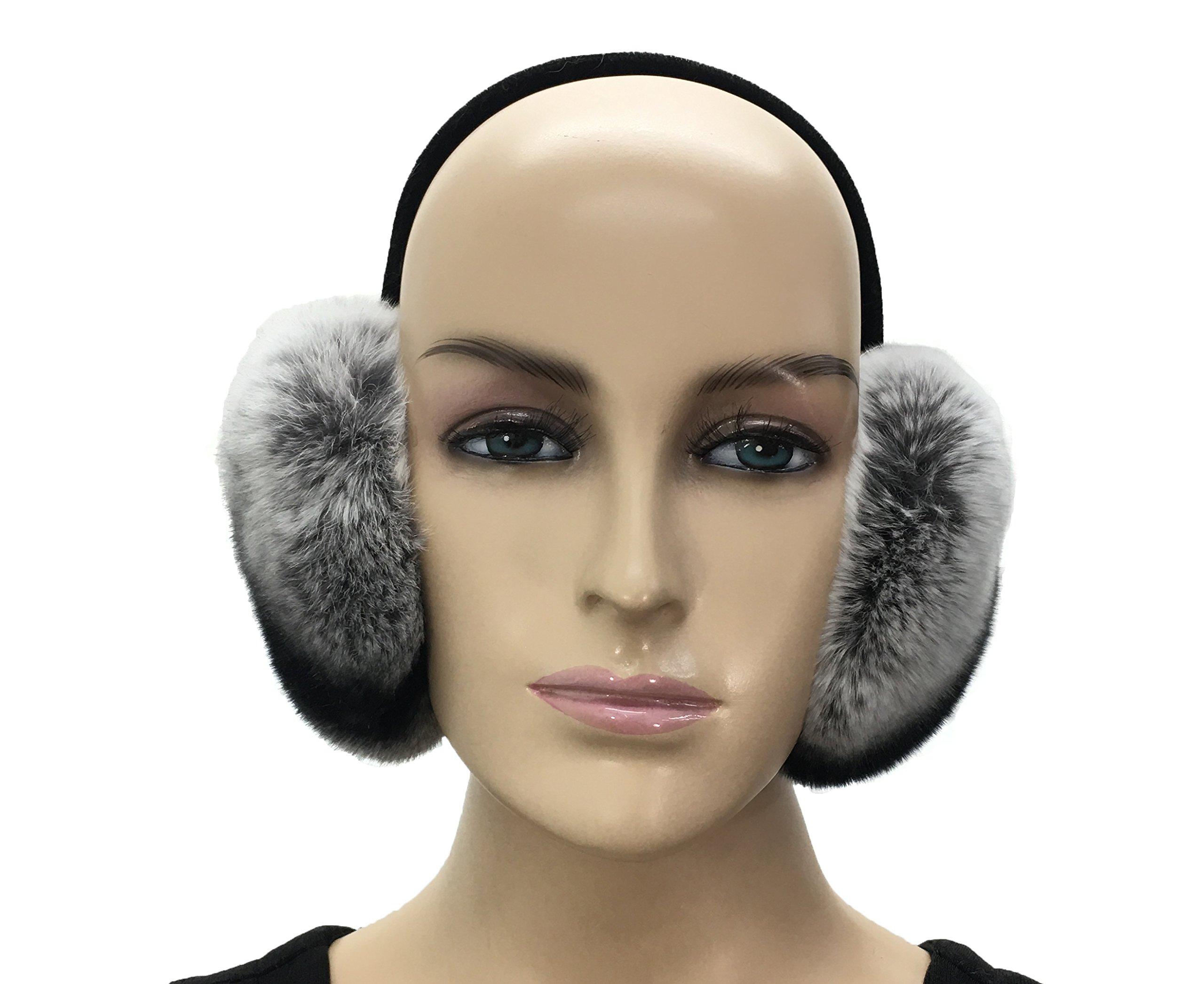HIMA Chinchilla Real Rex Rabbit Fur Earmuff by Hima
