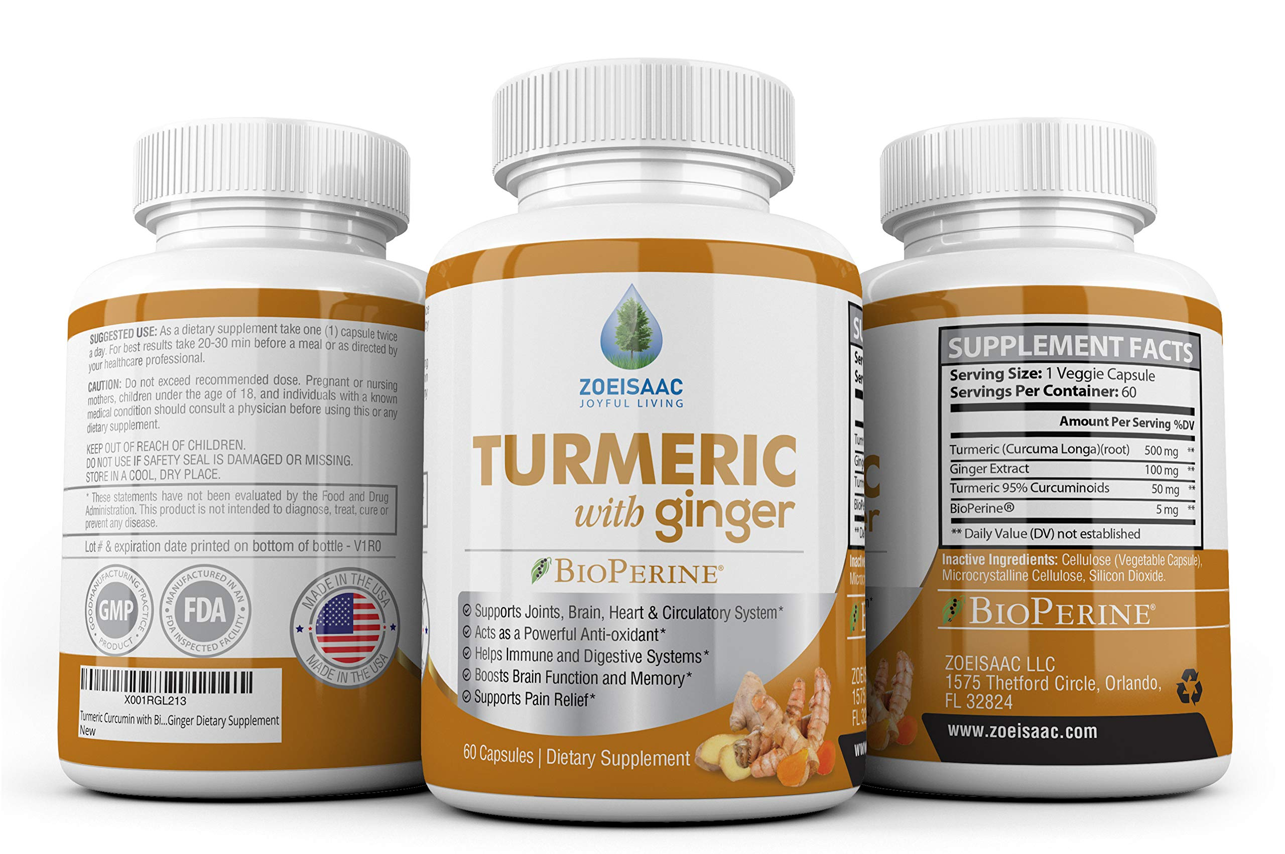 Turmeric Curcumin with Bioperine Black Pepper and Ginger 650mg Anti-oxidant, Reduces Stress, Heart, Joint & Digestive Support. All Natural, Safe & Effective Dietary Supplement.