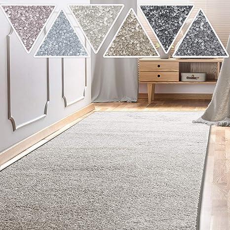 casa pura Teppich Läufer Sundae | Meterware | Teppichläufer für Wohnzimmer,  Flur, Küche usw. | kuschlig weich | mit Stufenmatten kombinierbar (Silber  ...
