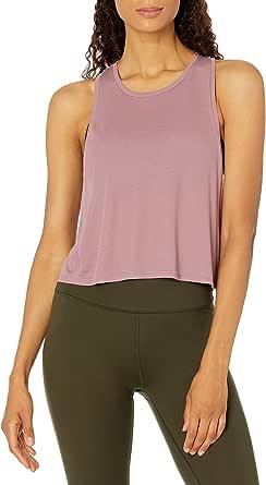 Core 10 Amazon Brand Women's Lightweight Sheer Rib Knit Yoga Crop Tank