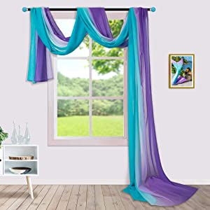Sheer Window Scarf 216 Inches Long for Canopy Bed 1 Panel Sheer Valance Scarves Drape Girls Room Decor Nursery Bedroom Decoration Ombre Teal Turquoise Aqua Lilac Purple Mermaid Canopy Bed Curtains
